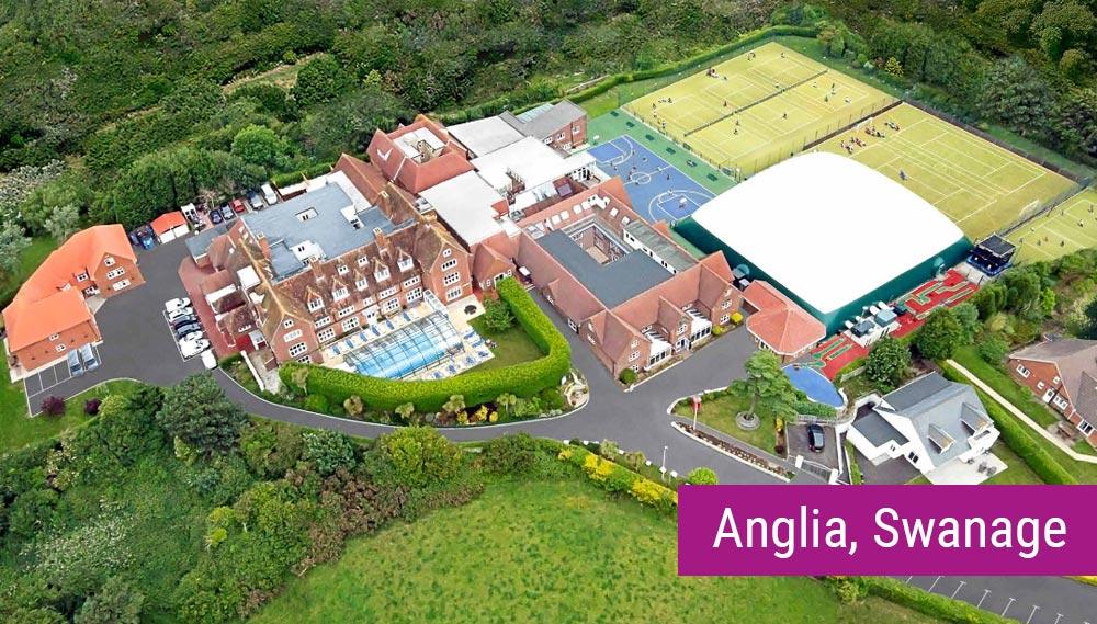 Anglia, Swanage - kampus szkolny z lotu ptaka